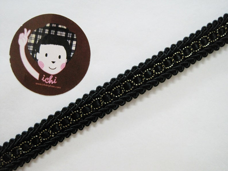 Chinese Braided Trim Braided Gimp Trim vintage trim black trim black 5 Yards 12 Black Gimp Braid Trim Scroll Braid Trim Gimp Braid