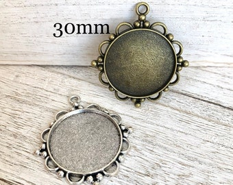 1 inch Photo jewelry making Charm 25 mm Lead Free Round necklace blank Pendant setting for glass or altered art Cabochons