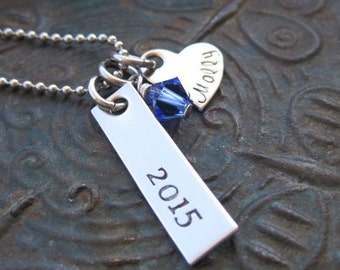 Hand Stamped Jewelry - Graduation Necklace - Mothers Necklace - Girls Necklace - Teen Necklace - Personalized Necklace