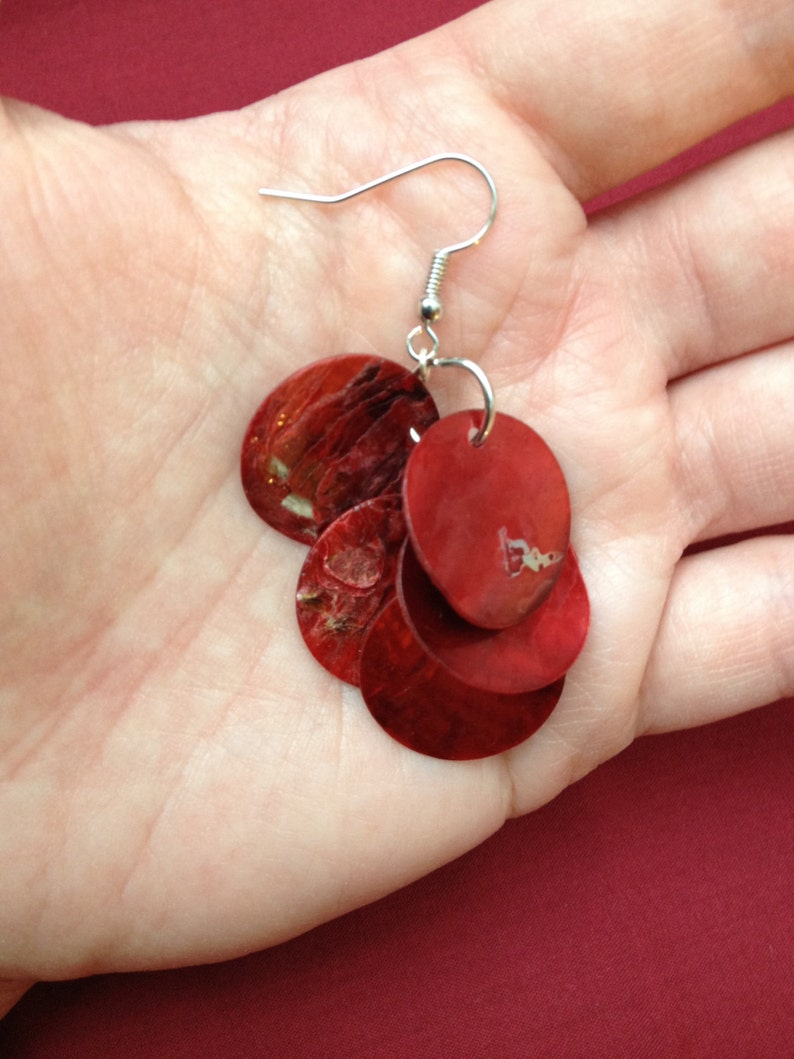 Scarlet II Handmade Earrings Featuring Thin Red Shell Beads
