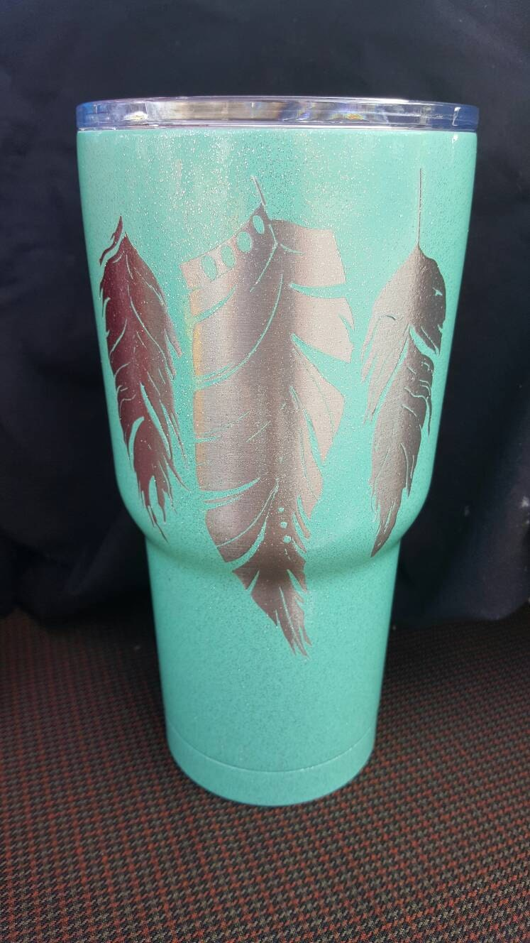 Feather 30oz Insulated Tumbler Painted Glitter Stainless