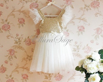 Ivory Tutu Dress, Ivory Flower Girl Dress, Wedding Flower Girl Dress, Baby Girl Birthday Party Dress, Ivory Sparkle Princess Dress, Gold