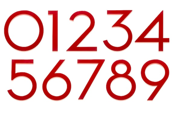 Modern House Number Aluminum Modern Font Number THREE 3 in RED