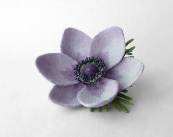 Felted brooch pin flower lilac Anemone, ready to ship