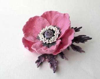 Felted brooch pink poppy flower with gray-pink leaves, ready to ship