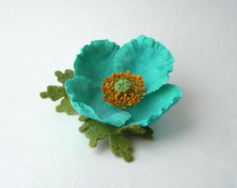 Felt brooch blue Poppy, blue Tibetan poppy, Himalayan blue poppy, nuno felt flower from wool and silk, nunofelt flower, OOAK
