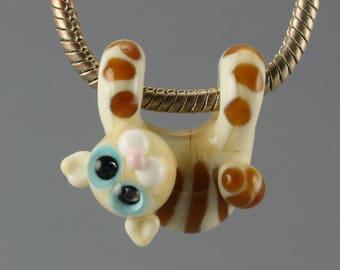 Cat necklace glass charm pendant jewelry bead lampwork   Glass bead, cat  pendant european bracelet big hole beads  BHB bead