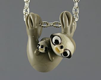 Sloth necklace Glass charm pendant lampwork jewelry  european  grey sloth  with baby sculpture/ miniature / BHB bead with bronze chain