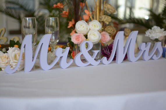 Wedding Sign Lavender Mr Mrs Top Table Decoration Signs Etsy
