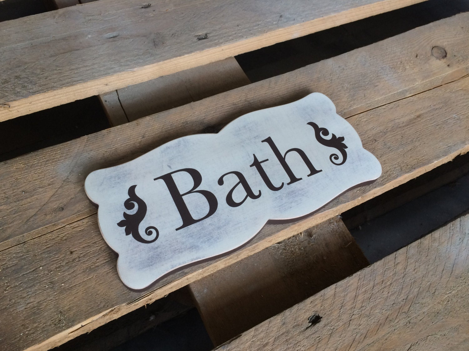 Cottage Chic Decor Bath Sign Wood Sign Bath Rustic Sign