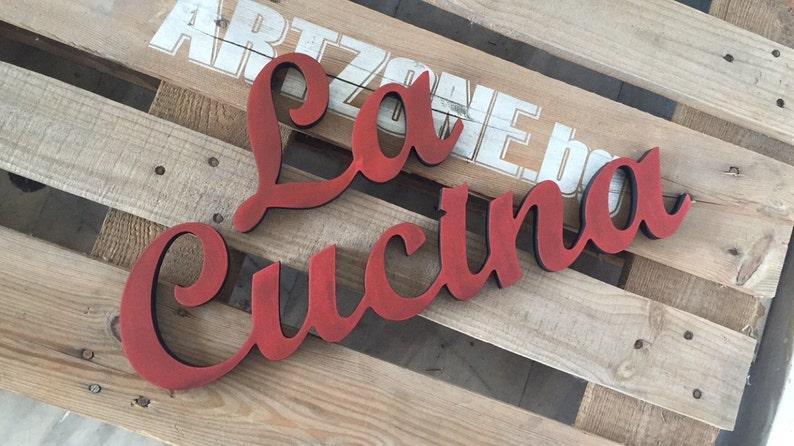 Kitchen cabinet sign La Cucina freestanding wooden letters.   Etsy
