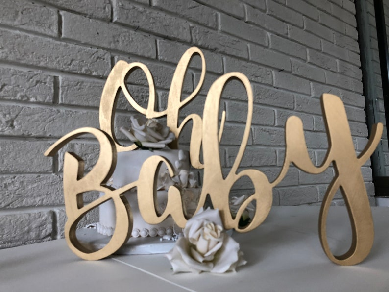Baby Shower Decorations Oh Baby Gold Wood Sign Large Wooden Letters For Baby Shower Table Decorations Or Letters Wall Decor