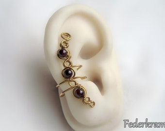 Red Garnet ear cuff golden brass, for left or right ear. nickel-free clip on, no piercing