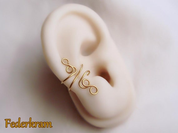 Ear cuff earcuff Ohrklemme Ohrclip ohne Piercing Verspielter Ohrschmeichler Messing