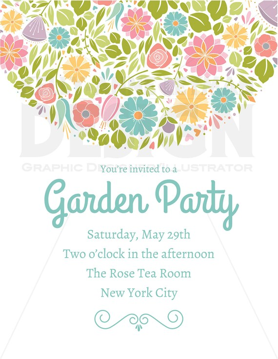 Spring flower wedding party invitation clipart digital etsy image 0 mightylinksfo