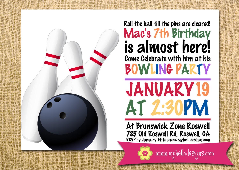 Printable Boy or Girl Bowling Birthday Invitation any color | Etsy