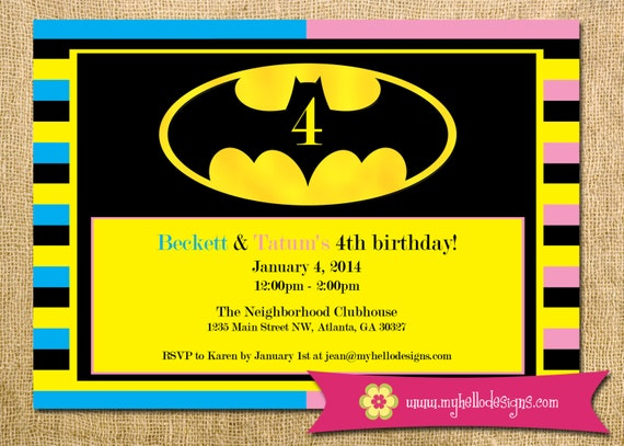 Batman Inspired Birthday Invitation For Twins Custom