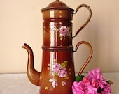 19th, french antique enamel Chocolate Brown With Rose coffee pot - lovely french enamelware - Enamel coffee pot