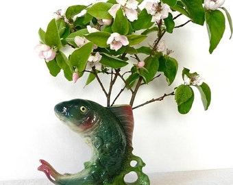 50% DISCOUNT 1900s Big Fish Majolica Gorgeous French Antique Vase Shaped Fish Art Barbotine  Nautical Beach Palm Beach Miami