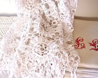Crochet tablecloth - cotton Handmade crochet - French Vintage Linen French Country Home - french Tablecloth