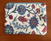 Ottoman Tulip Zipper Pouch, Ethnic Fabric Bag, Cute Makeup Bag, Cosmetic Clutch, Toiletry Bag, Fabric Zip Bag, Art Supply Bag, Student Gift