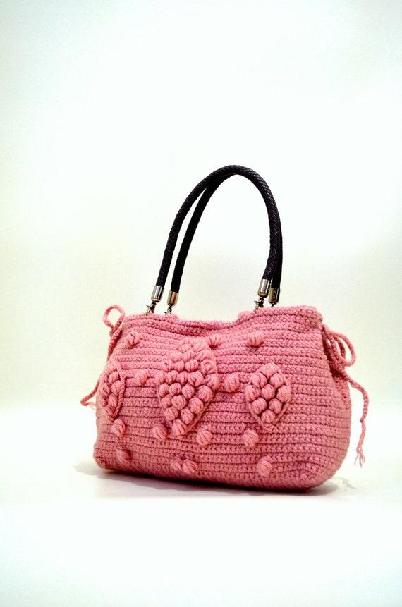 Bohemian Style Vegan Crochet Tote Popcorn  Bag Wool  Blue Shoulder Bag Gift for her Gerard Darel Bag With Genuine Leather Handles