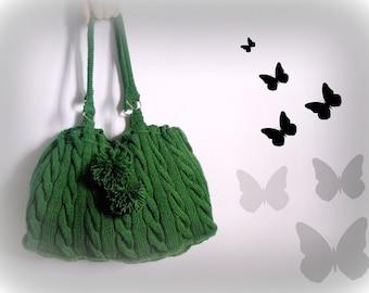 GREEN KNİT HANDBAG- Gifts for mom - Wool Bag - Handwork bag  - Green Knit Hand Bag- Shoulder  Everyday bag , Blue Green Wool , tote