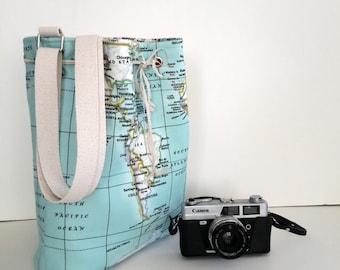 World Maps shoulder Bag  , Student atlas bag , World Maps printed bucket bag /Travel  bag , School Daily /Unisex Rucksack