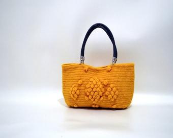 Mustard  crochet shoulder  Bag,  Handmade Winter  bag ,  Chunky tote bag ,  Boho bag , Knitted handbags ,  Gerard darel bag , Gifts for mom