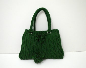 Knitted purses and bag- Gifts for mom- Wool Bag -Handmade wool handbag , Green Knit Hand Bag- handmade crochet handbags , Shoulder knit Bag