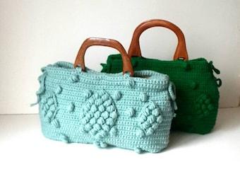 Green crochet shoulder bag, Handmade  tote bag , Summer purse bag, Knitted handbags , Gerard darel  , Chunky , Bohemian style , husband Gift