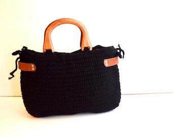Crochet tote bag,  Crochet leather bag , Black knit bag , Handwork  shoulder bag,  Crochet  bag purse , wooden handle bag , Gift for her