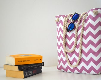 Wedding tote , Chevron tote bag , travel canvas , rope handle ,   shoulder bag , summer  beach bag , bridesmaids gifts , bridal party gift
