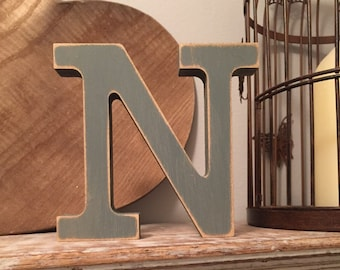 Hand-painted Wooden Letter N - Freestanding - Rockwell Font - Various sizes, finishes and colours - 15cm
