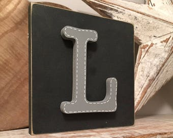 Wooden Letter Blocks, 3D letter, Signs, Letter L, 15cm square, all letters available, rustic finish