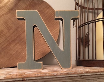 Wooden Letter N – Personalized Name Letter – Nursery Decoration Ideas – Rustic Room Décor – Rockwell Style N – Decorative Wooden Sign