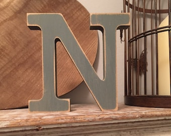 Wooden Letter N - 30cm x 18mm, Freestanding - Rockwell Font - Various sizes, finishes and colours