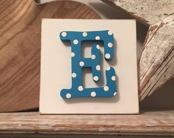 Wooden Letter Blocks, 3D letter, Signs, Letter E, 15cm square, all letters available, rustic finish