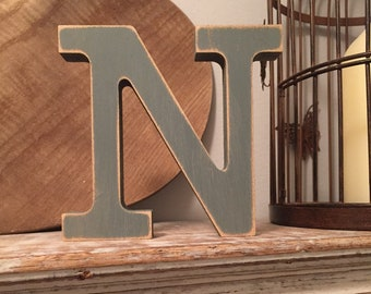 Wooden Letter 'N' - 10cm - Rockwell Font - various finishes, standing