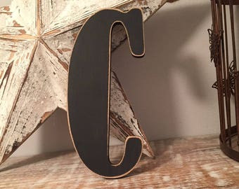 Wooden Wall Letter 'C'  - Bernard Style Font, various sizes, colours and finishes available, initial, monogram, 15cm high, 9mm thick