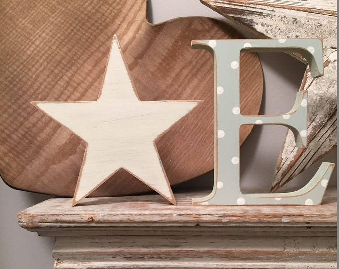Featured listing image: Wooden Letter & Star  - Star and Initial, Any letter, choice of colours,  Set of 2 - a letter and a star! 20cm high, nursery decor