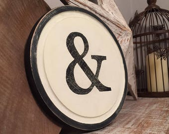 "8"" Round Letter Ampersand Sign, Initial, Wall Art, Home Decor, Rustic Letters, All letters available, inc ampersand, typewriter style"