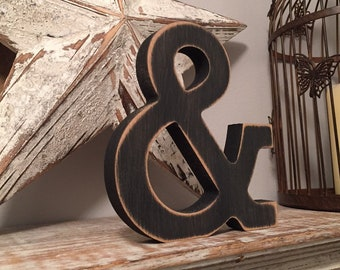 Wooden Letter 'ampersand' - 25cm- Rockwell Font - various finishes, standing