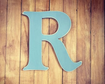 Wooden Wall Letter R - Painted Letter - Caxton Font - Various sizes, finishes and colours, 9mm thick