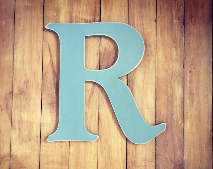 Wooden Wall Letter R - Painted Letter - Caxton Font - 15cm - Various sizes, finishes and colours, 9mm thick