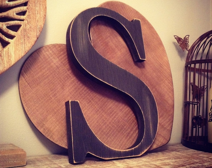 Wooden Letter 'S' -  25cm - Georgian Font - various finishes, standing