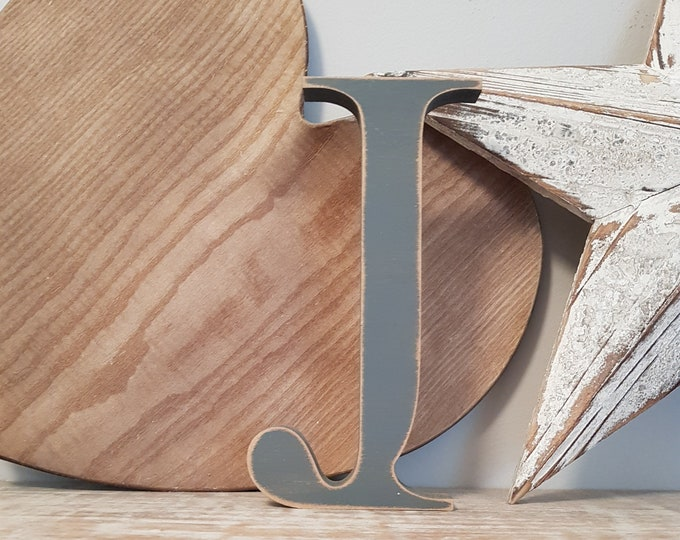 CLEARANCE - Wooden Letter J - painted and distressed - chunky, letter art, 20cm