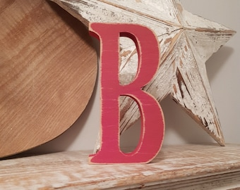 Wooden Letter B - painted and distressed - letter art, interior decor, 15cm, SALE, Clearance
