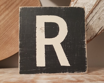 wooden sign, vintage style, personalised letter blocks, initials, wooden letters, monograms, letter R,  10cm square, hand painted