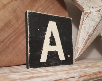wooden sign, vintage style, personalised letter blocks, initials, wooden letters, monograms, letter A,  10cm square, hand painted